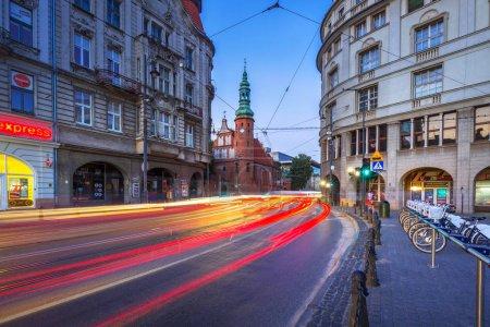 Traffic lights in Bydgoszcz city at dusk, Poland.