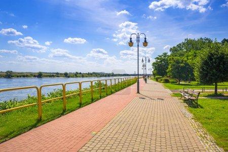 Sidewalk and bike path at Vistula river in Tczew