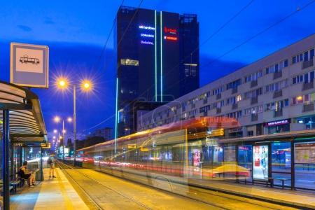 Traffic lights of Grunwaldzka Avenue in Gdansk at night, Poland