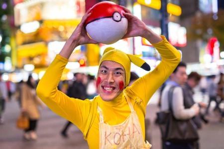 Pikachu at Shibuya crosswalk in Tokyo