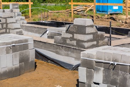 Brick up concrete blocks for foundation