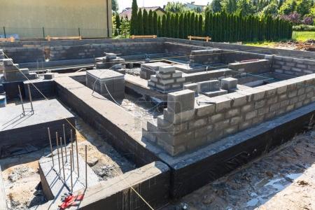 Brick up concrete blocks for foundation