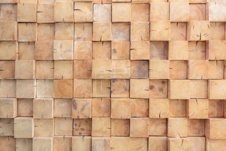Photo for Wooden squares wall pattern - Royalty Free Image