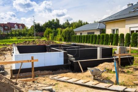 Concrete foundation of a house