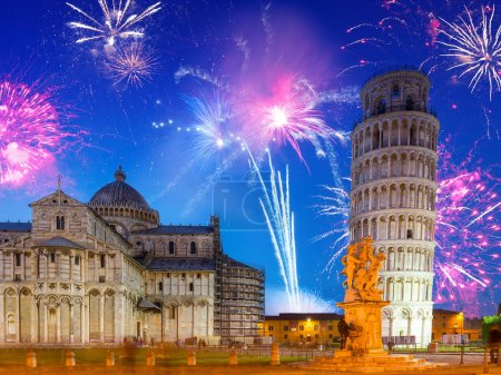 Fireworks display at leaning tower in Pisa