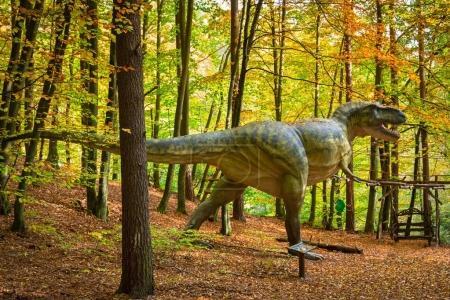 Realistic dinosaur model in Jurassic Park of Gdansk Oliwa