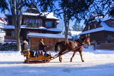 Horse cart ride in snowy Zakopane