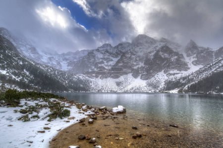 Beautiful winter at Eye of the Sea lake in in Tatra mountains