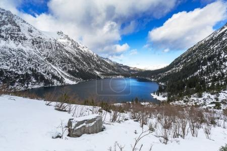 Eye of the Sea lake in Tatra mountains at winter