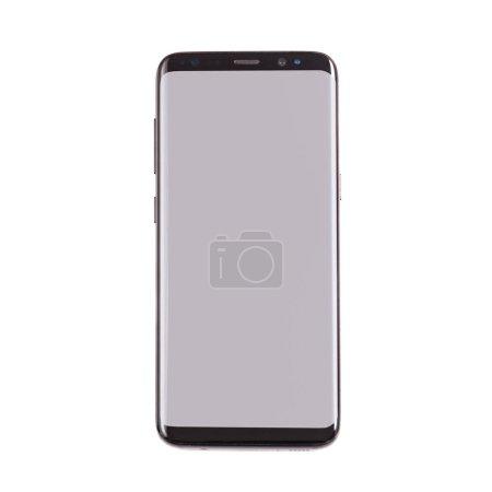 Foto de Nueva versión del smartphone con pantalla en blanco sobre blanco - Imagen libre de derechos