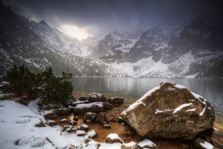 Beautiful winter at Eye of the Sea lake in in Tatra mountains, Poland