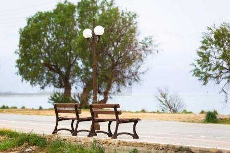 Bench at Maleme bech on Crete, Greece