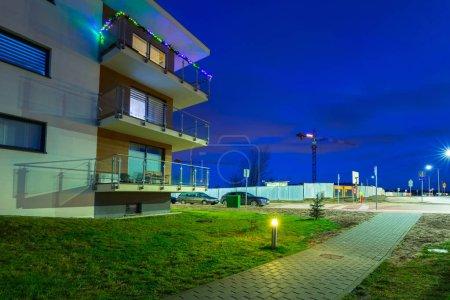Urban scenery od Pruszcz Gdanski at dusk in Poland