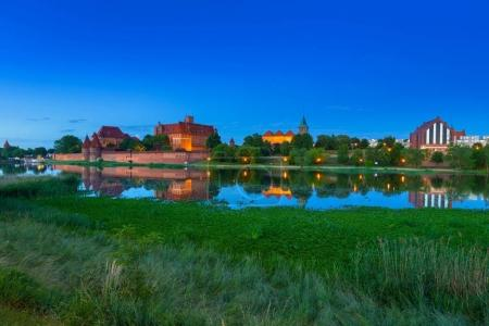 Malbork Castle of the Teutonic Order at dusk, Poland