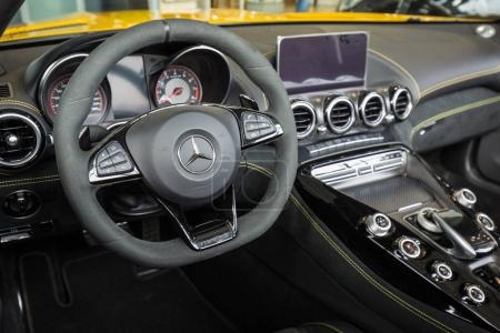 GDANSK, POLAND - FEBRUARY 13, 2018: Interior of Mercedes GT C Roadster in the car showroom of Gdansk, Poland. Mercedes GT C a 2-seater fastback roadster produced by Mercedes-AMG