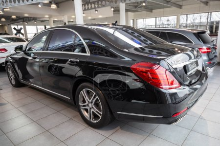GDANSK, POLAND - FEBRUARY 13, 2018: Mercedes S class limousine in the car showroom of Gdansk, Poland. Mercedes-Benz is German luxury  automobile manufacturer located in Stuttgart.