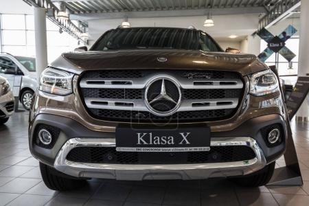GDANSK, POLAND - FEBRUARY 13, 2018: New Mercedes X class pickup SUV in the car showroom of Gdansk, Poland. Mercedes-Benz is German luxury  automobile manufacturer located in Stuttgart.
