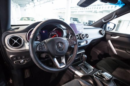 GDANSK, POLAND - FEBRUARY 13, 2018: Interior of new Mercedes X class in the car showroom of Gdansk, Poland. Mercedes-Benz is German luxury  automobile manufacturer located in Stuttgart.