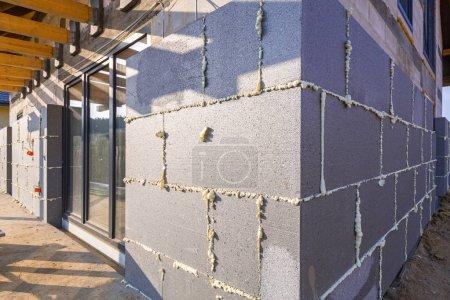 Graphite styrofoam insolation on the new house under construction