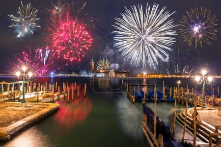 Photo for New Years firework display over the Venice city, Italy - Royalty Free Image