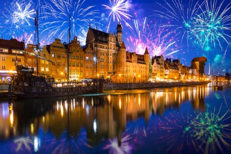 Photo for Fireworks display over the old town in Gdansk, Poland - Royalty Free Image