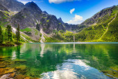 Beautiful Eye of the Sea lake in Tatra mountains, Poland