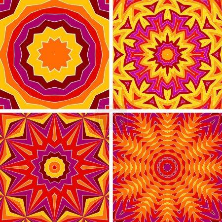 Photo pour Ensemble de quatre motifs géométriques abstraits - milieux. Mandala - image libre de droit