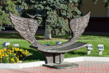 Khimki, Russia-September 03. 2016. Sculpture - bench of reconciliation in the central square