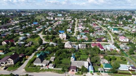Top view of Gruazy town in Lipetsk oblast in Russia