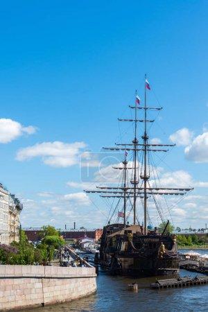 St. Petersburg, Russia - June 03. 2017. Restaurant in sailboat Flying Dutchman