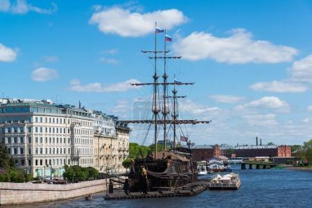 St. Petersburg, Russia - June 03. 2017. Restaurant in sailboat Flying Dutchman about Mytninskaya Embankment