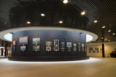 St. Petersburg, Russia - June 02. 2017. Exhibition of marine paintings in Naval Museum in Kryukov Barracks