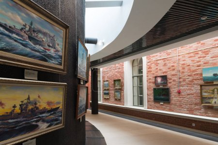 St. Petersburg, Russia - June 02. 2017. Exhibition of marine paintings in Naval Museum in Kryukov Barracks