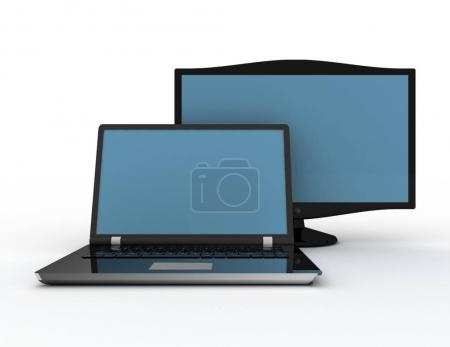 Modern laptop and the display on a white background 3d renered i