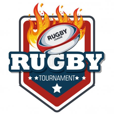 rugby label ball with flames