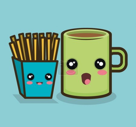 fries cup cartoon design graphic