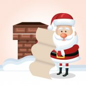 cartoon santa claus with list and chimney snow isolated