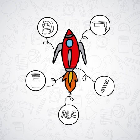 rocket start up line icons