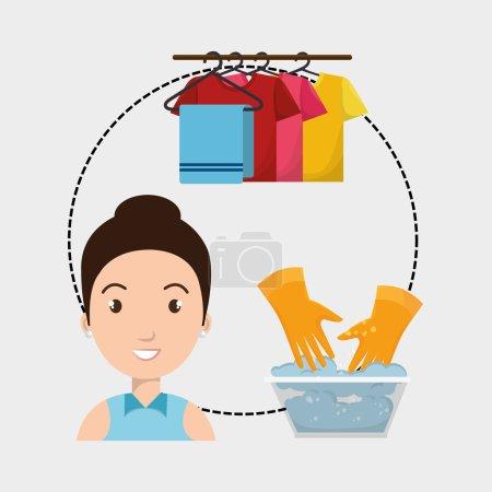 Illustration pour Femme lavage vêtements accrocher gants vecteur illustration eps 10 - image libre de droit