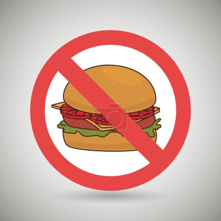 Burger fast food unhealth prohibited vector illust...