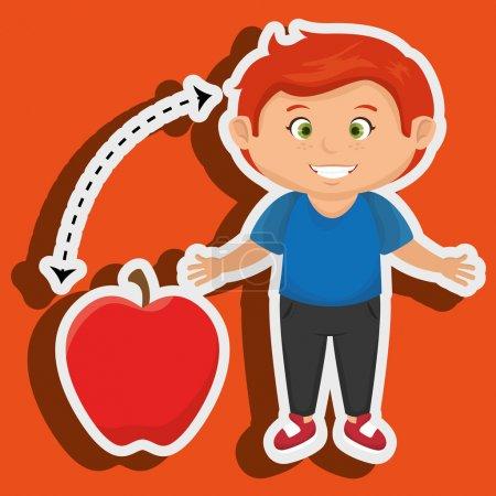 boy cartoon fruit apple red