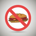 Sandwich fast food unhealth prohibited vector illu...