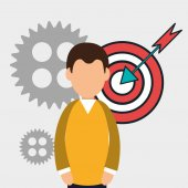 Avatar man with gears wheels and target icon business and strategy design vector illustration
