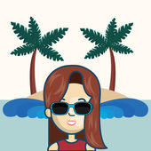 Avatar woman smiling wearing sunglasses over beach background vector illustration