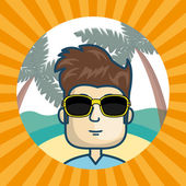 Avatar man wearing sunglasses inside of beach circle and over yellow and orange striped background vector illustration