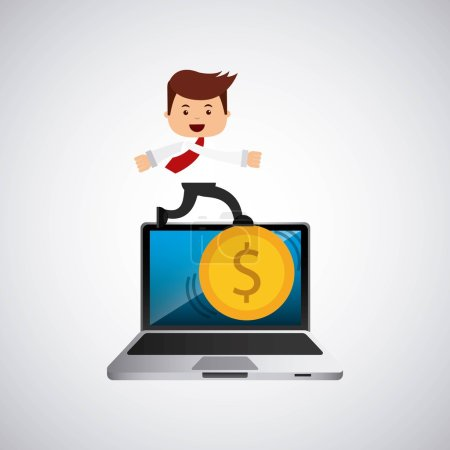 successful businessman with laptop icon