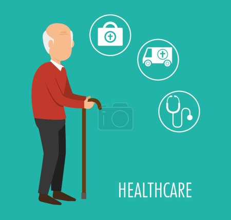 Avatar old man with cane and medicine icon set ove...