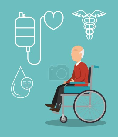 Illustration for Avatar old man on wheelchair with medicine icon set over blue background. vector illustration - Royalty Free Image