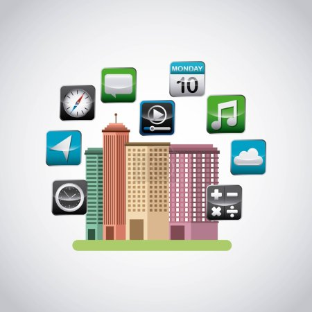 cityscape with app store icons