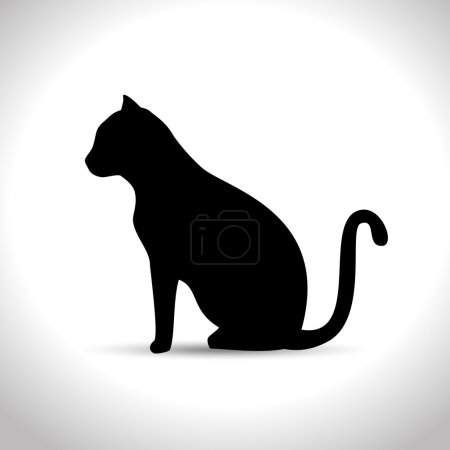 silhouette sitting cat icon graphic